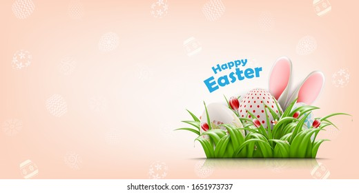 Happy Easter vector background concept with realistic Easter eggs, bunny ears and flowers. Vector Illustration for spring  Holiday ads, and invitations with text space.