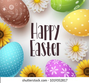 Happy easter vector background design template with greeting typography text, flowers and colorful easter eggs elements in white background for easter celebration. Vector illustration.