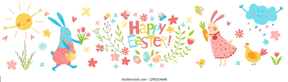 Happy Easter vector banner. Cute funny animals. Hand drawn flat cartoon elements: easter eggs, sun, willow, flowers, bunny, cloud and chickens. Isolated on white. Kids illustration. Pencil texture.