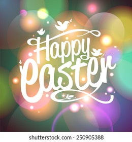 Happy Easter vector card with bokeh lights
