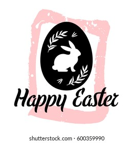 Happy Easter vector card on the hand drawn background. Easter Egg with a rabbit silhouette and leaves. Hand made ink texture.