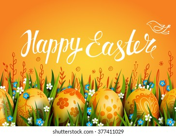 Happy Easter vector Card. Template with golden eggs, grass and flowers. Folk paints. Yellow  background.  Handwriting calligraphic inscription.