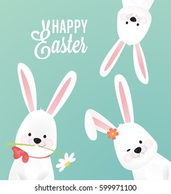 Happy Easter Vector Design  with Cute Rabbit Characters- Advertising Poster or Flyer Template with a White Bunny Family