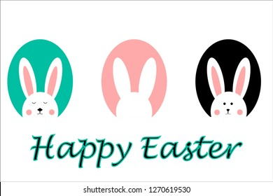 Happy Easter vector design. Set of three cute, adorable bunnies, rabbits in the egg-shaped background. Concept for Easter - card, poster, textile