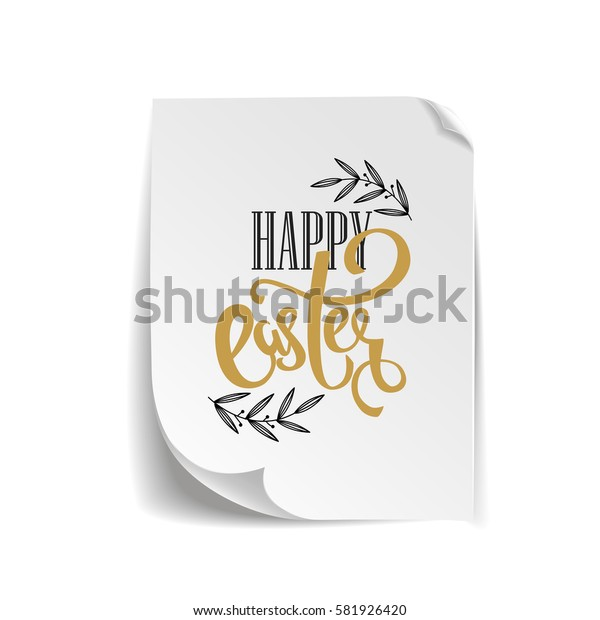 Happy Easter vector hand lettering greeting card, poster background with realistic paper.