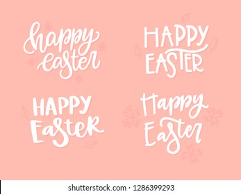 Happy Easter. Vector handwritten lettering. Template for card, poster, banner.