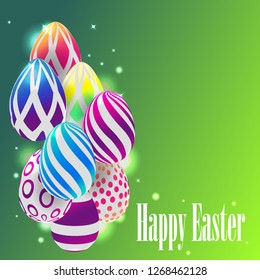 happy Easter vector illustration, 3D colored eggs on green background