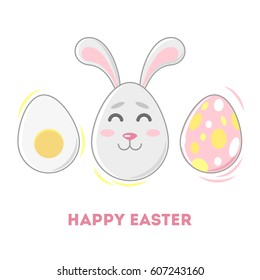 Happy Easter! Vector illustration of an Easter bunny and eggs. Portrait of a smiley face in egg shape. Vintage flat style