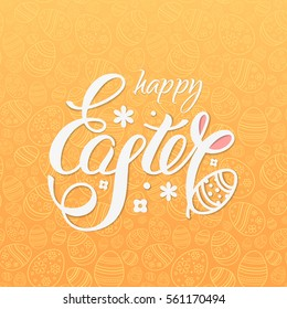 Happy Easter vector illustration for design posters and flyers on the yellow background with text, seamless pattern of ornamental eggs and bunny ears.