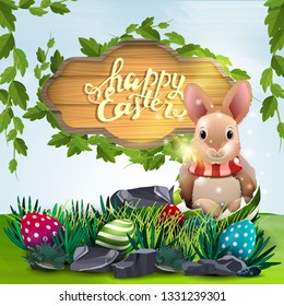 Happy Easter, vector illustration with wooden sign and Easter Bunny in egg with spring landscape