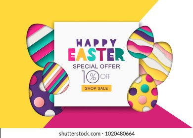Happy Easter vector sale banner. Multicolor Easter decoration, paper cut eggs. Design for holiday flyer, poster, greeting card, party invitation.