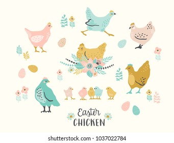 Happy Easter. Vector set of easter chicken for card, poster, flyer and other users. Design element.