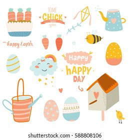 Happy Easter vector set. Cute spring and summer elements in stylish colors. Holidays cartoon set. Vector. Isolated. White background