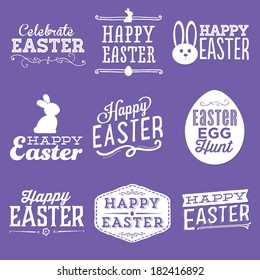 Happy Easter Vector Set | Easter Egg Hunt | Celebrate Easter | Bunny Rabbit