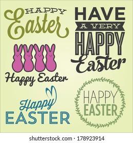 Happy Easter Vector Set | Happy Easter Marshmallow Bunnies | Have A Very Happy Easter | Happy Easter Script