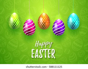 Happy Easter Vector Typography card with colored eggs on green seamless background for greeting card, ad, promotion, poster, flyer, web-banner, article, social media