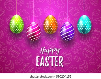 Happy Easter Vector Typography card with colored eggs on bright purple seamless background for greeting card, ad, promotion, poster, flyer, web-banner, article, social media