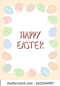 Happy easter vertical postcard with paschal eggs. Vector pastel holidays background. Scrapbooking frame. Hand drawn lettering. Invitation, banner, card.