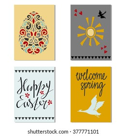 Happy Easter vintage cards design set isolated, calligraphic text, lettering, egg, birds, sun hand drawn