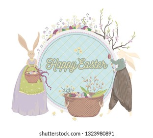 Happy Easter. Vintage greeting card with bunny, eggs, flowers, basket, spring tree, chicks. Holiday design template. Vector illustration in watercolor style