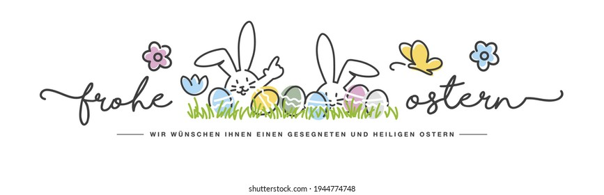 Happy Easter we wish you a holy and blessed Easter on German language handwritten art line design of cute smiling Easter bunny and eggs in grass egg hunt great for Easter Card, banner, wallpapers
