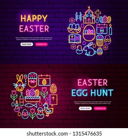 Happy Easter Website Banners. Vector Illustration of Spring Seasonal Promotion.