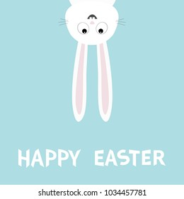 Happy Easter. White bunny rabbit. Funny head face silhouette hanging upside down. Eyes, teeth, big long ears. Cute cartoon character Baby collection. Flat design Blue background. Vector illustration