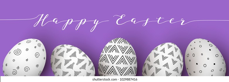 Happy Easter. Easter white eggs in row with monochrome simple decoration on purple background. simple Nordic ornaments decorations. vector illustration. Postcard template, advertising, gifts