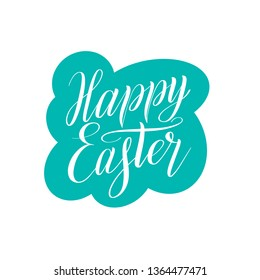 Happy Easter. White isolated cursive on mint green color background. Calligraphic style. Design element. Elegant script lettering. Holiday illustration. Vector sticker.
