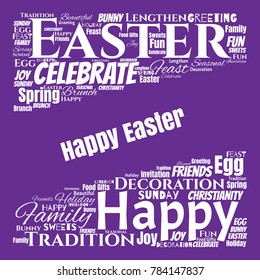 Happy Easter Word Cloud Collage for Greeting Card Design. Good Wishes Vector Illustration
