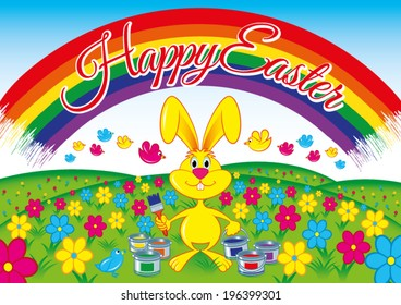 happy easter Yellow rabbit on a flowery meadow that paints a rainbow in the sky