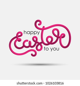 Happy Easter to you blended interlaced creative hand drawn lettering. Trendy vector liquid 3d calligraphy over white background for your poster, banner, postcard, invitation or greeting card design