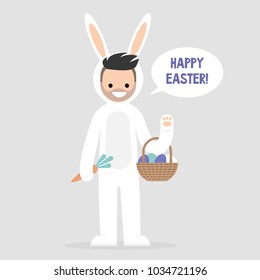 Happy easter. Young male character wearing a white bunny costume and holding a basket with dyed eggs. Holidays. Flat editable vector illustration, clip art. Culture and celebrations.