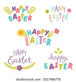 Happy easter,hand drawn lettering,vector set.