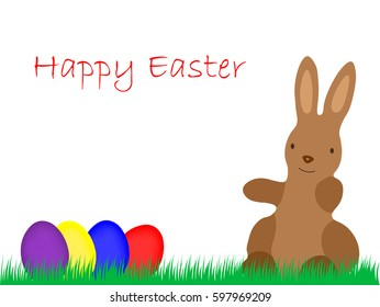 Happy Eastern, Easter Bunny with Eggs on grassland