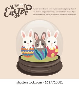 Happy Easter's Day, Ganster Rabbit in Snowglobe give colourful eggs and gifts with Cream background. Vector illustration greeting card, ad, promotion, poster, flyer, banner, web-banner, article