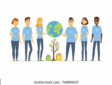 Happy eco volunteers - cartoon people characters isolated illustration
