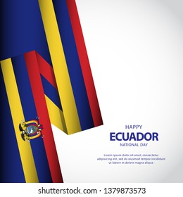 Happy ecuador independence day vector illustration design template
