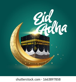Happy Eid Adha. with Kabah and gold Crescent.