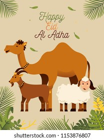 happy eid al adha greeting with camel goat and sheep vector illustration