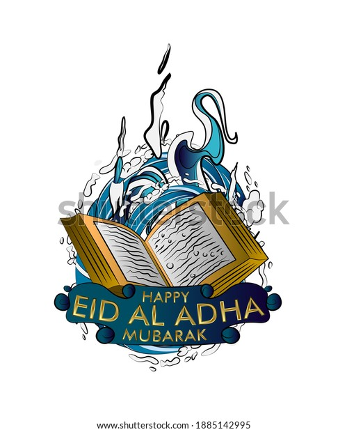 happy eid al adha is mean muslim event template background with pop art style