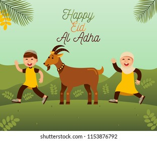 Happy eid al adha with moslem  kids and goat for qurban vector illustration