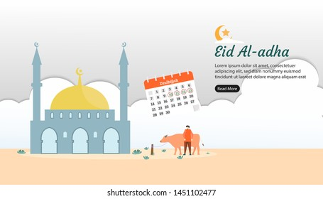happy eid al adha mubarak greeting concept with tiny man and cow character. animal sacrifice for qurban with mosque building. web landing page template, banner, presentation, social, and print media