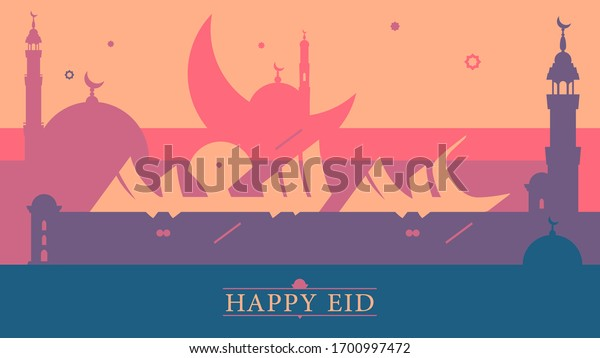 Happy Eid greeting in Arabic Kufic handwritten calligraphy and English serif font on a colorful background with 2d silhouette mosques and hilal in celebration of the Islamic Eid Al-Fitr and Al-Adha
