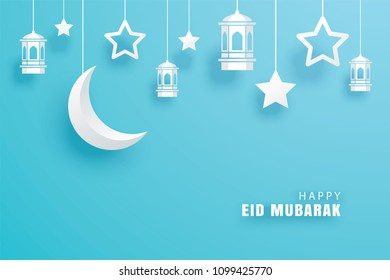Happy Eid Mubarak greeting card with crescent moon paper art background. Ramadan Kareem vector illustration. Use for banner, poster, flyer, brochure template.