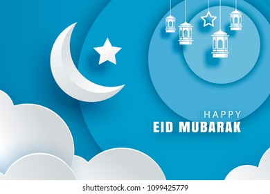 Happy Eid Mubarak greeting card with crescent moon paper art background. Ramadan Kareem vector illustration. Use for banner, poster, flyer, brochure sale template.