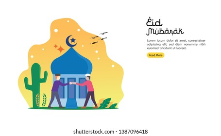happy eid mubarak greeting concept with people character for web landing page template, banner, presentation, social, and print media. islamic eid fitr or adha flat design vector illustration.