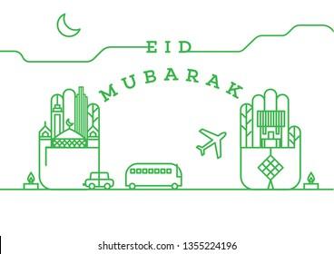 Happy Eid Mubarak/ hari raya greeting with malay word selamat hari raya aidilfitri that translates to wishing you a joyous hari raya template vector/ Raya design element - Vector