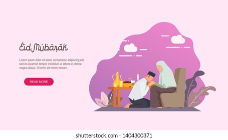 Happy eid mubarak with people character concept. Islamic design for Landing page templates, kids Book Illustration, Banners, Card Invitation, Poster and Social media.