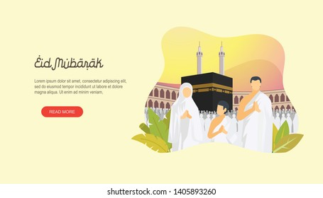 Happy eid mubarak with people character and makkah concept. Hajj or umrah illustration design for Landing page templates, UI, Story board, Book Illustration, Banners, Card Invitation and Social media.